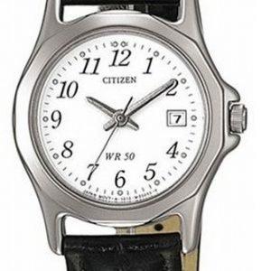 Citizen Leather Eu1950-04a Kello Valkoinen / Nahka