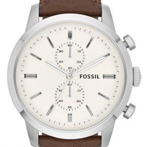 Fossil Dress Fs4865 Kello Valkoinen / Nahka