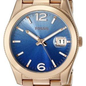 Fossil Es3780 Kello Sininen / Punakultasävyinen