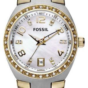 Fossil Glitz Am4183 Kello Valkoinen / Kullansävytetty Teräs