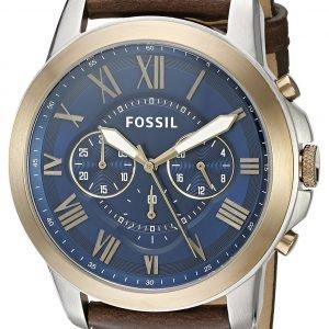 Fossil Grant Fs5150 Kello Sininen / Nahka