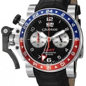 Graham Chronofighter Oversize 2ovhs.B39a Kello Musta / Nahka