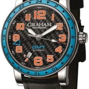 Graham Silverstone Time Zone 2tzas.B01a Kello Musta / Nahka