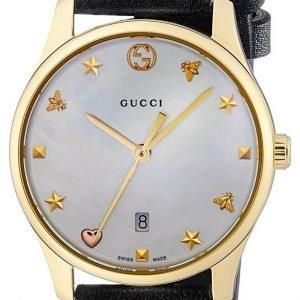 Gucci G-Timeless Ya126589 Kello Valkoinen / Nahka