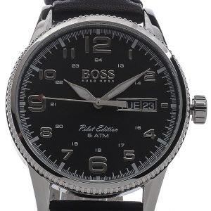 Hugo Boss Pilot Vintage 1513330 Kello Musta / Nahka