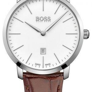 Hugo Boss Swiss Made 1513255 Kello Valkoinen / Nahka