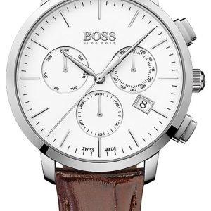 Hugo Boss Swiss Made 1513263 Kello Valkoinen / Nahka