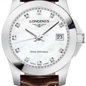 Longines Conquest Ladies L3.376.4.87.5 Kello Valkoinen / Nahka