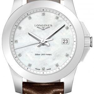 Longines Conquest Ladies L3.377.4.87.5 Kello Valkoinen / Nahka