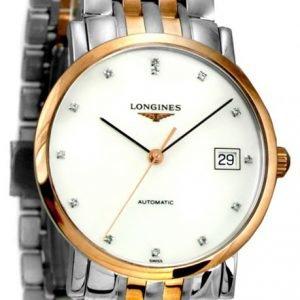 Longines Elegant L4.809.5.87.7 Kello Valkoinen / 18k Punakultaa
