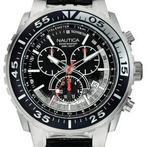 Nautica Chronograph A14678g Kello Musta / Nahka