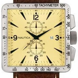 Nautica Chronograph A17532 Kello Samppanja / Nahka