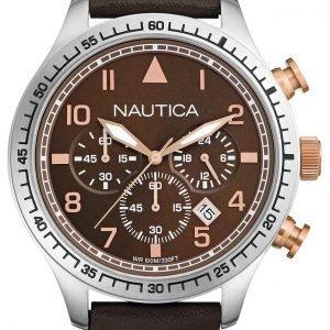 Nautica Chronograph A17655g Kello Ruskea / Nahka