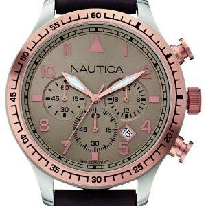 Nautica Chronograph A17656g Kello Beige / Nahka