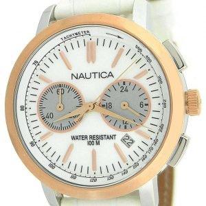 Nautica Chronograph N19579m Kello Valkoinen / Nahka