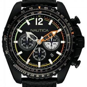Nautica Chronograph Nai22506g Kello Musta / Nahka
