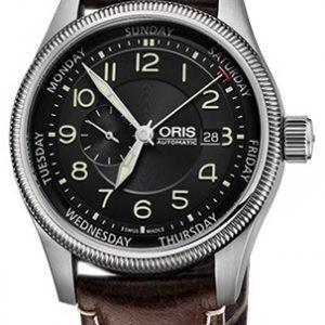 Oris Aviation 01 745 7688 4034-07 5 22 77fc Kello Musta / Nahka