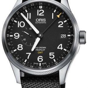 Oris Aviation 01 748 7710 4164-07 5 22 15fc Kello Musta / Nahka