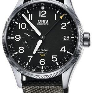 Oris Aviation 01 748 7710 4164-07 5 22 17fc Kello Musta / Nahka