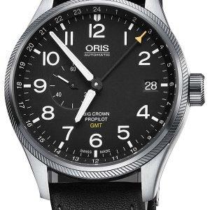 Oris Aviation 01 748 7710 4164-07 5 22 19fc Kello Musta / Nahka