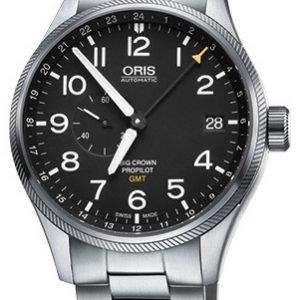Oris Aviation 01 748 7710 4164-07 8 22 19 Kello Musta / Teräs
