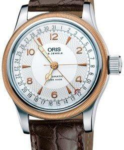Oris Aviation 01 754 7696 4361-07 5 20 52 Kello Hopea / Nahka