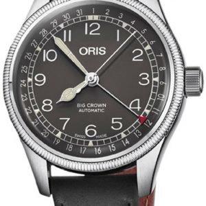 Oris Aviation 01 754 7749 4064-07 5 17 65 Kello Musta / Nahka