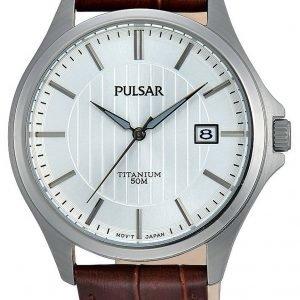 Pulsar Dress Ps9435x1 Kello Valkoinen / Nahka