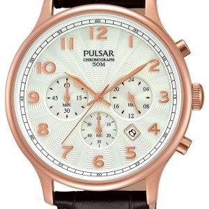 Pulsar Dress Pt3644x1 Kello Valkoinen / Nahka