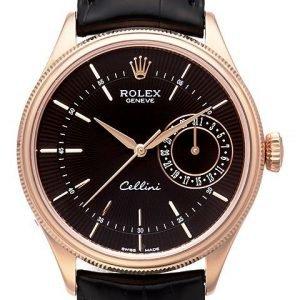 Rolex Cellini Date 50515-0011 Kello Musta / Nahka