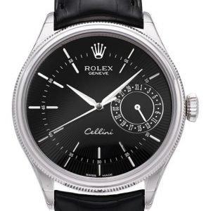 Rolex Cellini Date 50519-0007 Kello Musta / Nahka