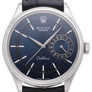 Rolex Cellini Date 50519-0011 Kello Sininen / Nahka