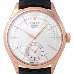 Rolex Cellini Dual Time 50525-0008 Kello Hopea / Nahka