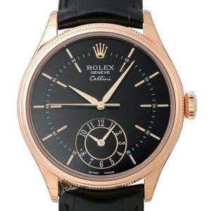 Rolex Cellini Dual Time 50525-0011 Kello Musta / Nahka