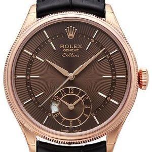 Rolex Cellini Dual Time 50525-0016 Kello Ruskea / Nahka