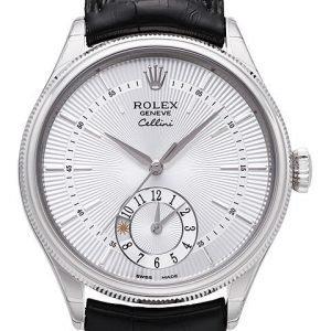 Rolex Cellini Dual Time 50529-0006 Kello Hopea / Nahka