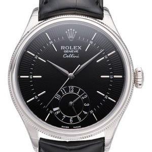 Rolex Cellini Dual Time 50529-0007 Kello Musta / Nahka