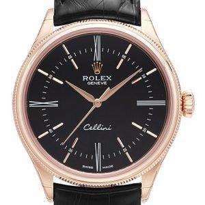 Rolex Cellini Time 50505-0009 Kello Musta / Nahka