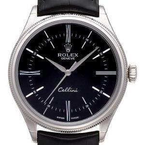 Rolex Cellini Time 50509-0006 Kello Musta / Nahka