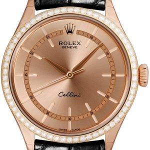 Rolex Cellini Time 50705rbr-0010 Kello Samppanja / Nahka