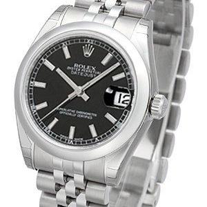Rolex Datejust 31 178240-0016 Kello Musta / Teräs