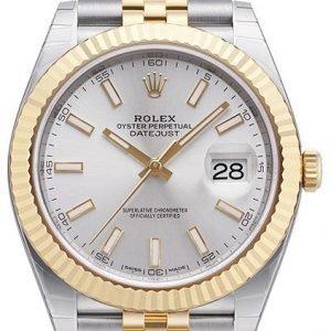 Rolex Datejust 41 126333-0002 Kello Hopea / 18k Keltakultaa