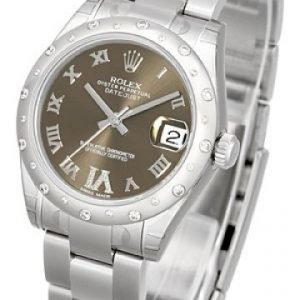Rolex Datejust Lady 178344-0017 Kello Ruskea / Teräs