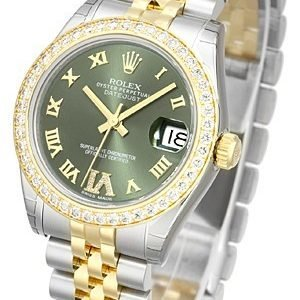 Rolex Datejust Lady 31 Mm 178383-0005 Kello Vihreä / 18k