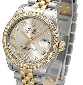 Rolex Datejust Lady 31 Mm 178383-0007 Kello Hopea / 18k