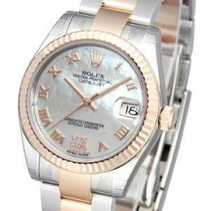 Rolex Datejust Midsize 178271-0077 Kello Valkoinen / 18k