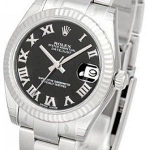 Rolex Datejust Midsize 178274-0078 Kello Musta / Teräs
