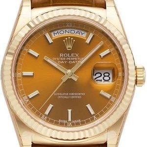 Rolex Day-Date 118138-0005 Kello Ruskea / Nahka