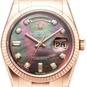 Rolex Day-Date 118235f-0007 Kello Musta / 18k Punakultaa