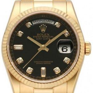 Rolex Day-Date 118238-0111 Kello Musta / 18k Keltakultaa